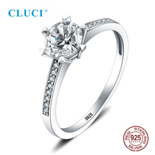 CLUCI Authentic 925 Sterling Silver Zircon Ring for Wedding Engagement Classic Six Claws Jewelry