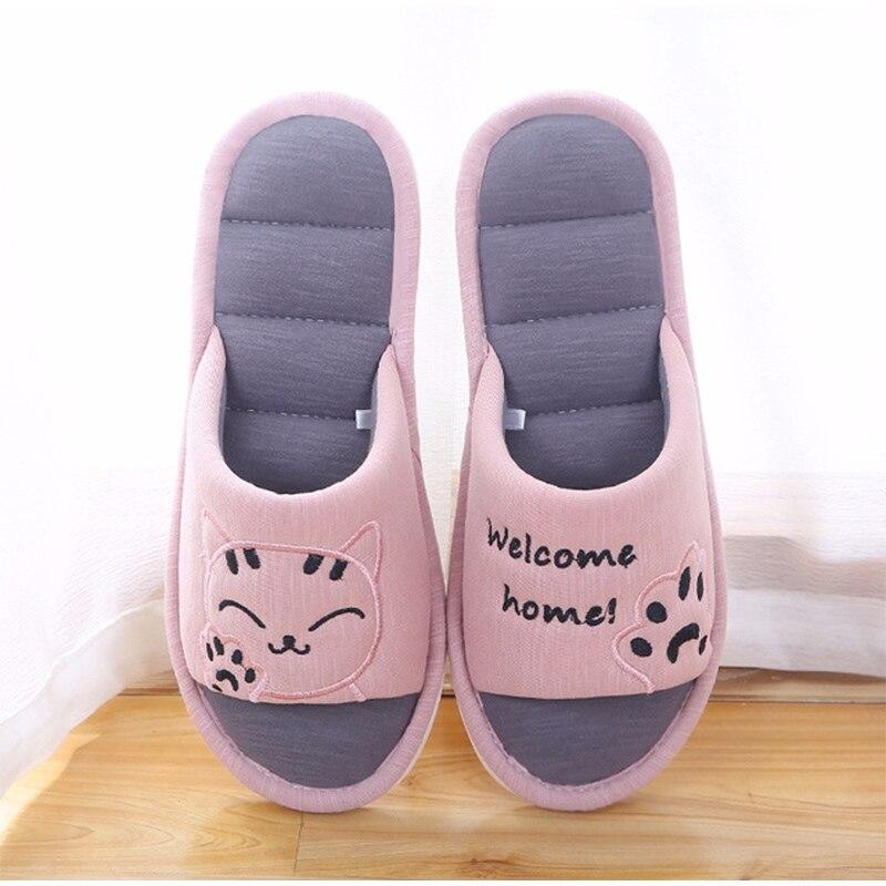 H60a5420279af486a82fff698c479a2d4O Mulheres macio casa plana gato chinelos de algodão inverno quente mulher moda casa sapatos conforto do sexo feminino estilo casal interior