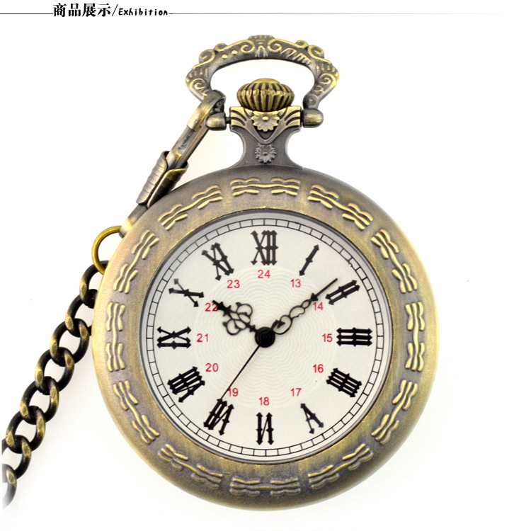 Unique Men Women Vintage Pocket Watch Roman Numerals Fob Watch Necklace Pendant Clock With Chain