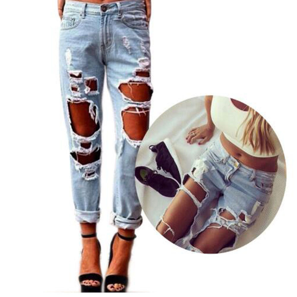 Brand New Women Sexy Destroyed Ripped Distressed Slim Hole Pants Boyfriend Jeans Trousers Hollow Out Deans Pant
