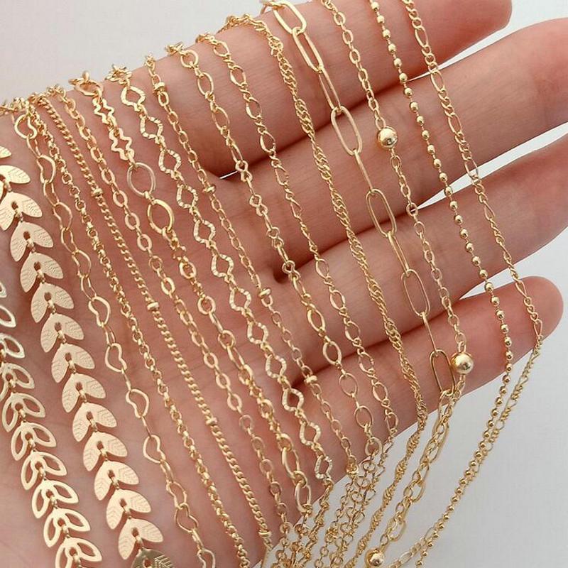 Из 14-каратного золота с Цвет с латунным покрытием круглозвенные цепочки ожерелья цепи ювелирные изделия высокого качества аксессуары