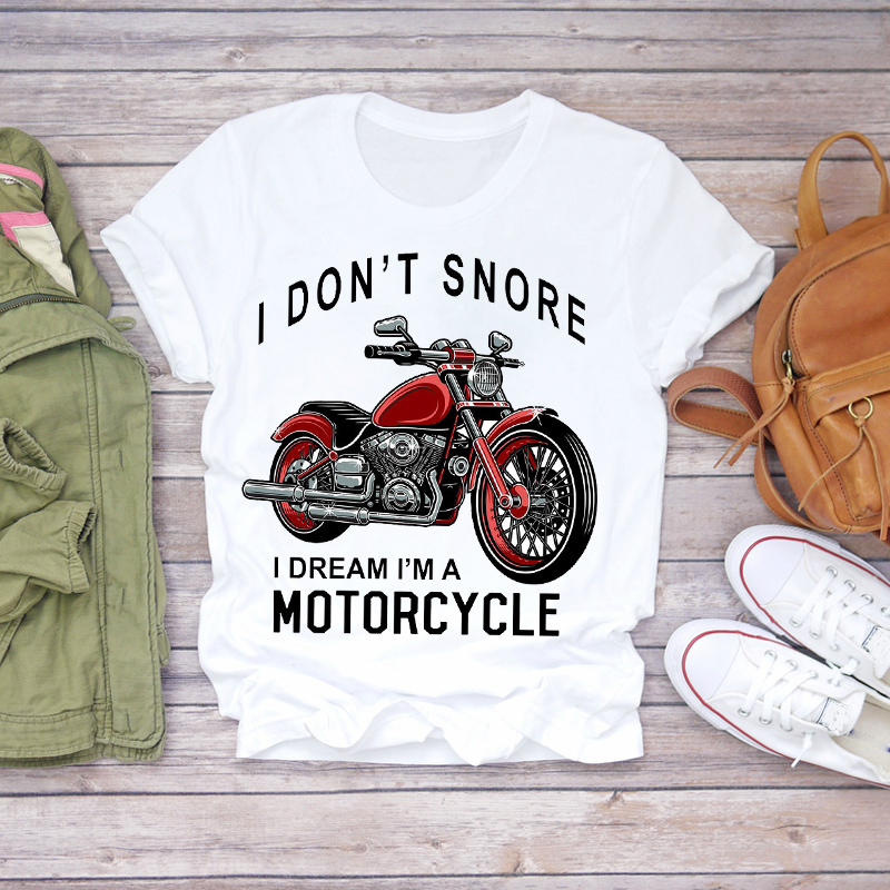 Women 2020 Summer Motorcycle Funny Cute Printed Cartoon Lady T-shirts Top T Shirt Ladies Womens Graphic Female Tee T-Shirt
