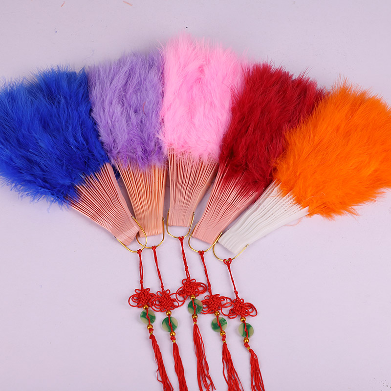 High Quality 1pcs Fluffy Feather Hand Fan Dance Stage Show Props Wedding Party Goose Feather Fan Belly Dance Decoration