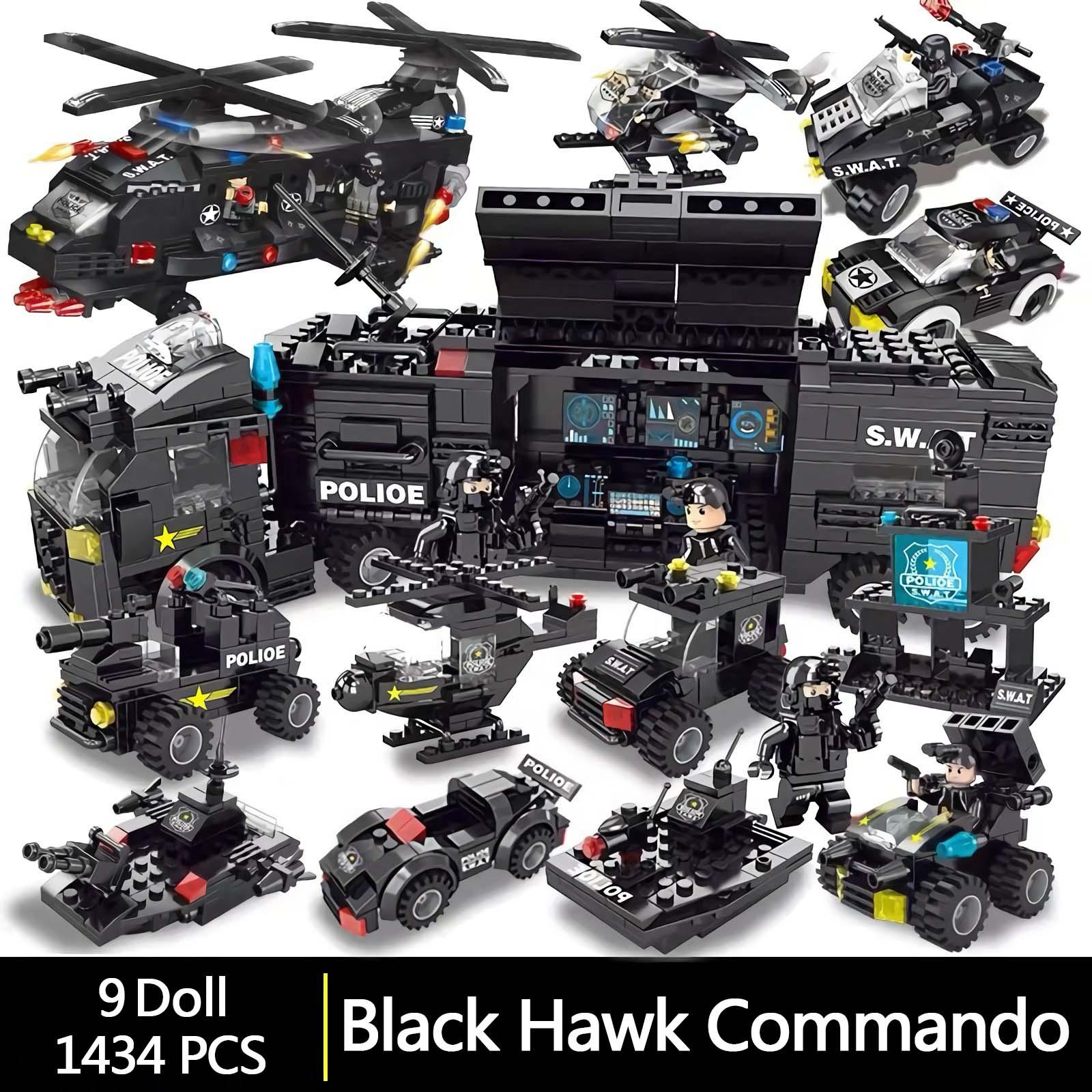 City Police Station Car Building Blocks For City SWAT Team Truck House Blocks Technic Diy Toy For Boys Children