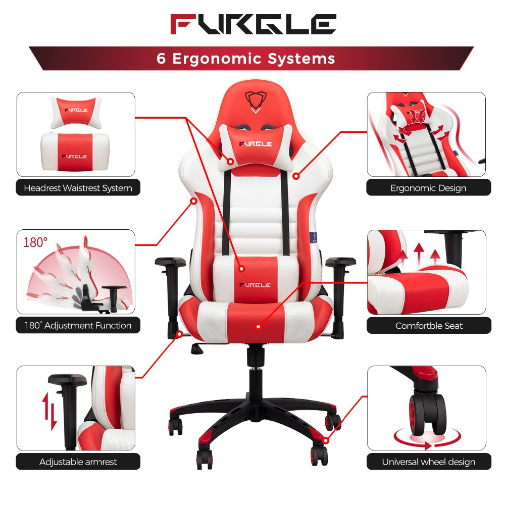 Furgle is one ofthe best alternatives brand to Newskill, Drift or Dx Racer gaming chairs. The FURGLE Gaming Chairs are great value for money and their sporty yet understated style makes them a good alternative to the usual office chairs. The chair bases are unibody style, made of strong and durable nylon. They are totally ergonomic: height-adjustable armrests, lumbar and cervical cushion, comfortable seat, and quality gas piston. They can be tilted up to 180 degrees.