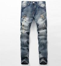 Italian Vintage Designer Men Jeans Light Blue Retro Wash Slim Fit Ripped Jeans Men Buttons Pants Fashion Elastic Classical Jeans light wash tapered fit nine minutes of jeans