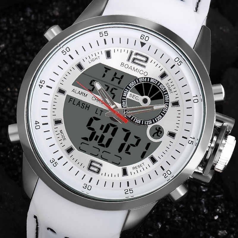 BOAMIGO Marke Männer Sport Uhren weiß multifunktions LED digital analog quarz armbanduhren gummi band 30m wasserdicht