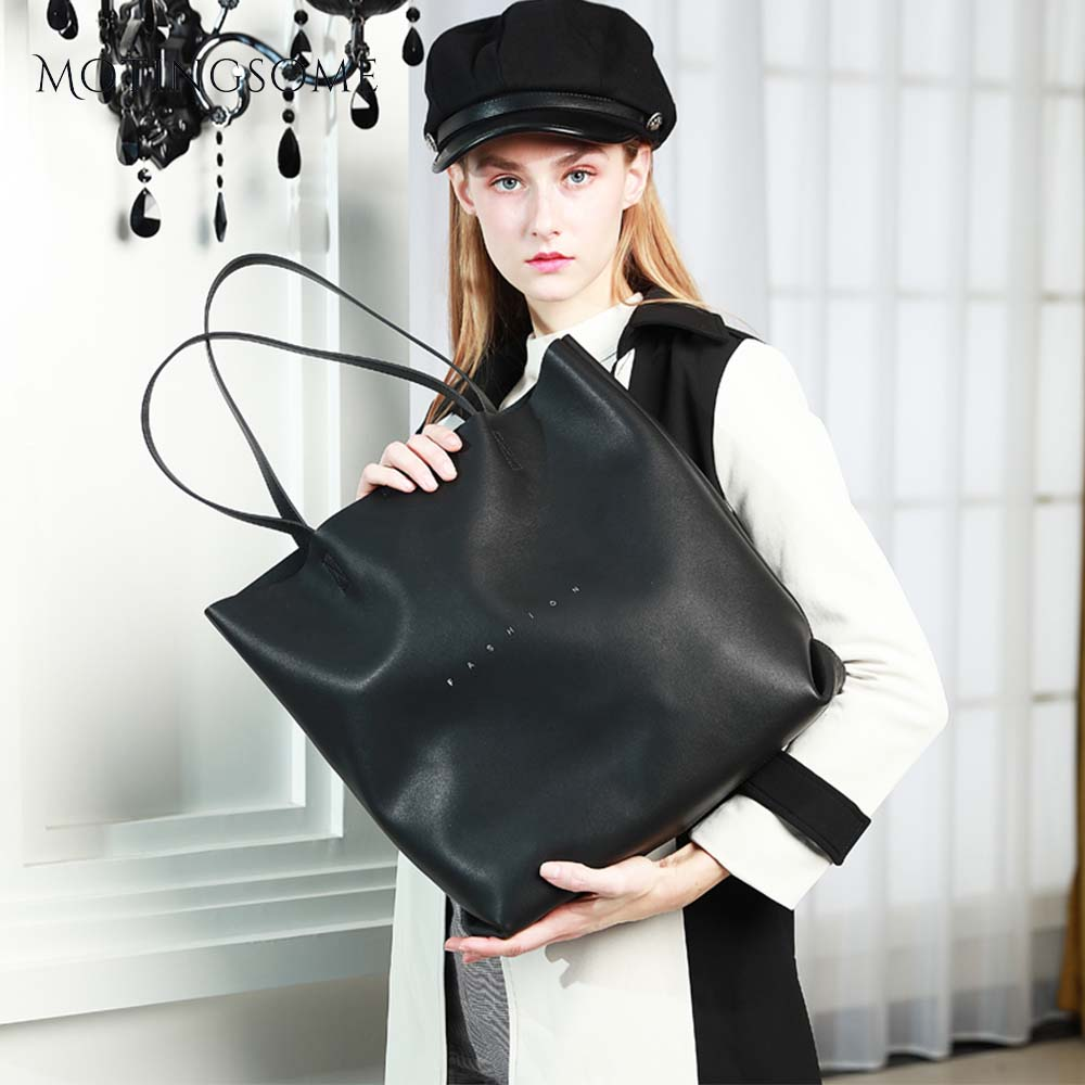 Oversized Genuine Leather Tote Bag Stylish Women Natural Leather Exquisite Cowhide Leather Shopper Bags Fashion Blue 2020 New
