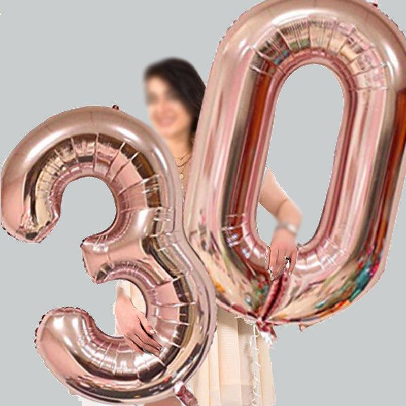 32/40 дюймов номер алюминиевый воздушный шарик из фольги в форме розового цвета: золотистый, серебристый цифры рисунок воздушный шар для дете...