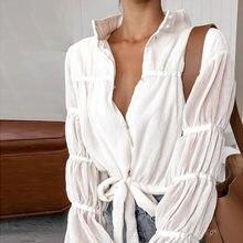 Элегантная блузка с воротником стойкой длинным рукавом сетчатая