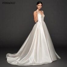 Fdhaolu fu57 sexy profundo v pescoço vestidos de casamento uma linha cetim branco sem costas vestido de noiva sem mangas alças varrer trem vestido de noiva