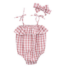 0-24M Newborn Infant Baby Mädchen Plaid Romper Bodysuit Overall + Haar Ring Set Outfits(China)