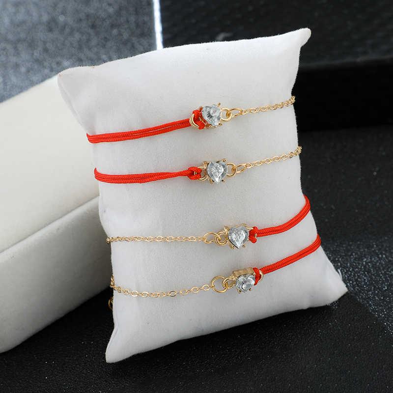 Tocona wisiorek w kształcie serca z kryształami obrączki dla kobiet szczęście czerwona linka na stopie regulowany łańcuszek na nogę zestaw urok biżuteria 8387