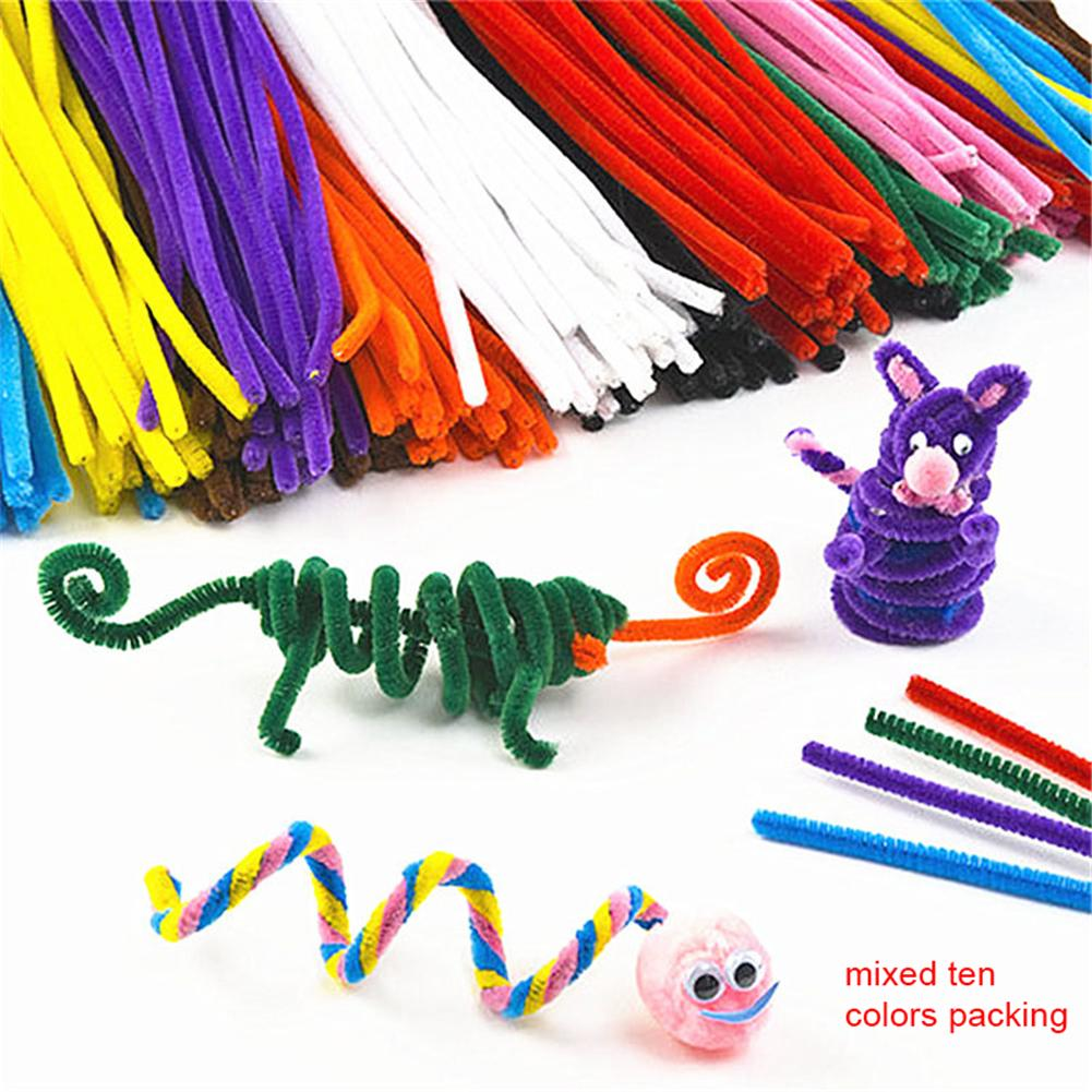 100pcs Pipe Cleaners For DIY Craft Chenille Stems Handmade Handicraft Twist Rod Braiding Wire Children Mixing Color
