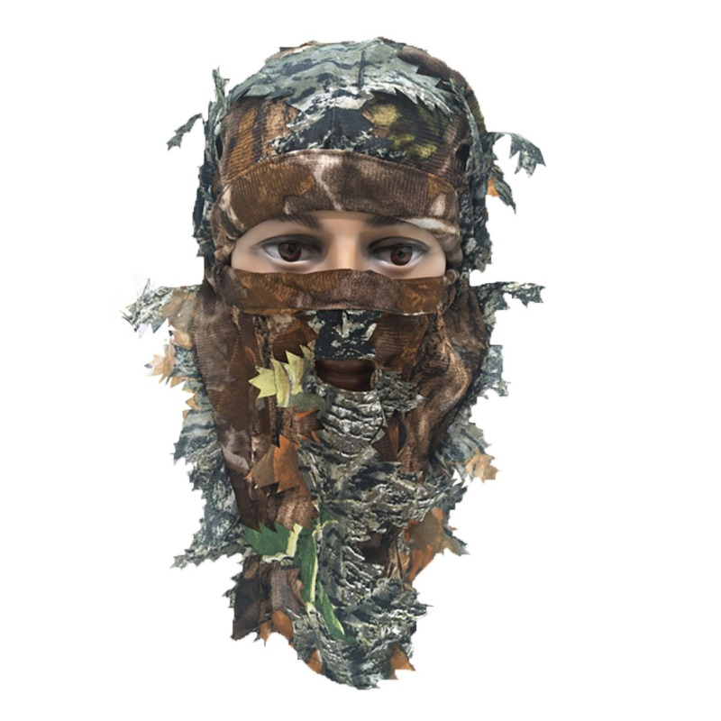 H 3D Unisex Hunting Army Outdoor Leaf Blind Mask Multi-functional Camping  Bionic Camouflage Headgear Helmet Tactical Mask Caps
