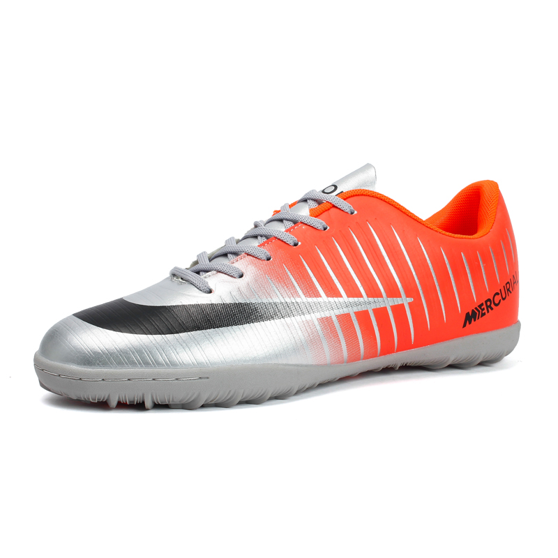 Popular Style Men's Cr7 Soccer Shoes Turf Children Football Boots Lace Up Ronaldo Football Boots Students Kids Soccer Sneaker 44