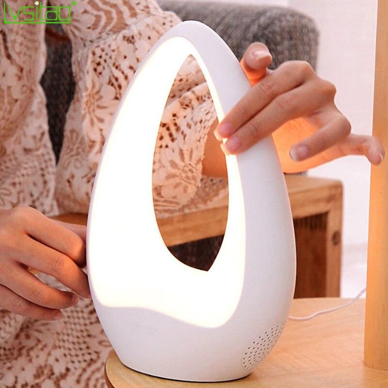 Сенсорный динамик, Bluetooth, светодиодная настольная лампа, затемняющий Ночной светильник, новинка, подарки, домашний декор, AUX 220 В, умный, совместимый, 360, объемный звук
