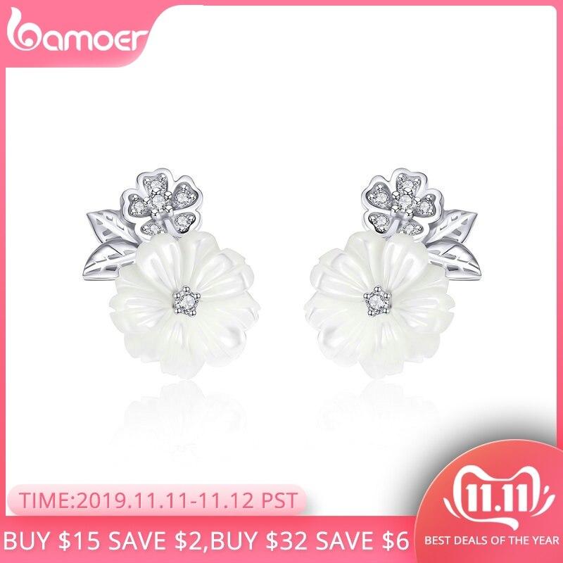BAMOER Genuine 925 Sterling Silver Shell Flower White Enamel Stud Earrings For Women Fashion Sterling Silver Jewelry BSE008