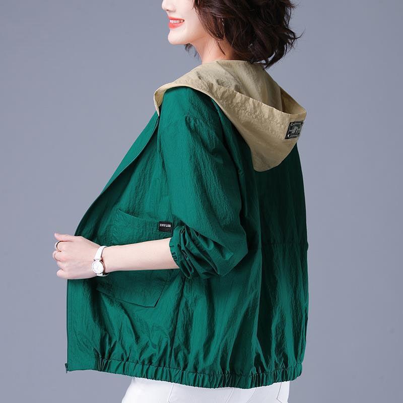 2020 Autumn Women's Jacket Thin Coat Hooded Pocket Zipper Windbreaker Female Long Sleeve Sun Protection Jackets Plus Size 4XL E7