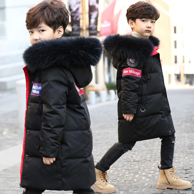 Winter Thicken Warm Big Real Fur Collar Down Jacket For Boys/ Girls