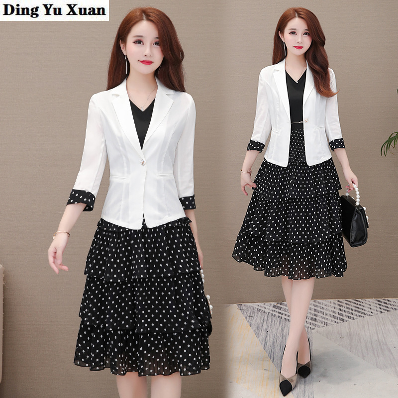 Spring Summer Woman Office Work Blazer Coat Dress Suit for Women White Jacket and Black Knee-length Dresses 2 Two Pieces Set