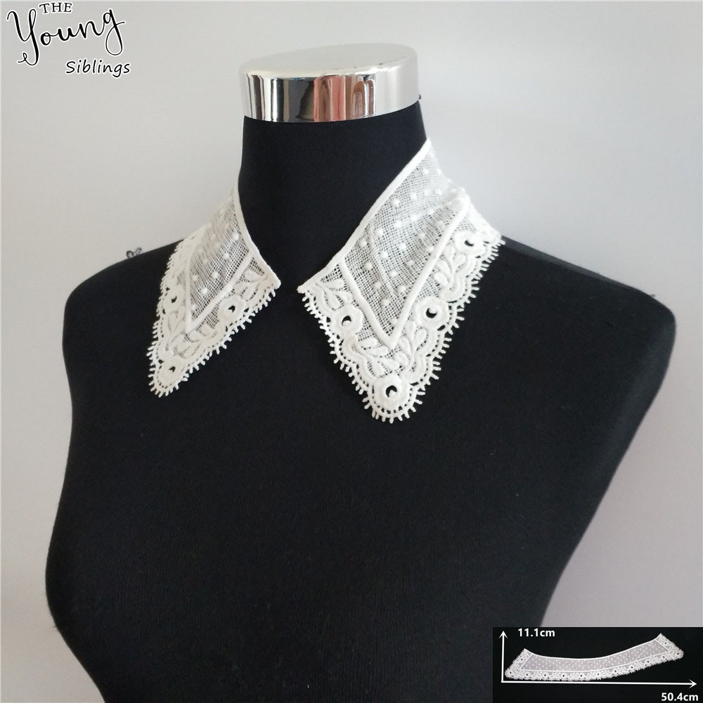 New arrive White Hollow out Embroidery Lace Collar DIY Sewing Lace Neckline Applique Dress Decorate Accessory Craft Scrapbooking image