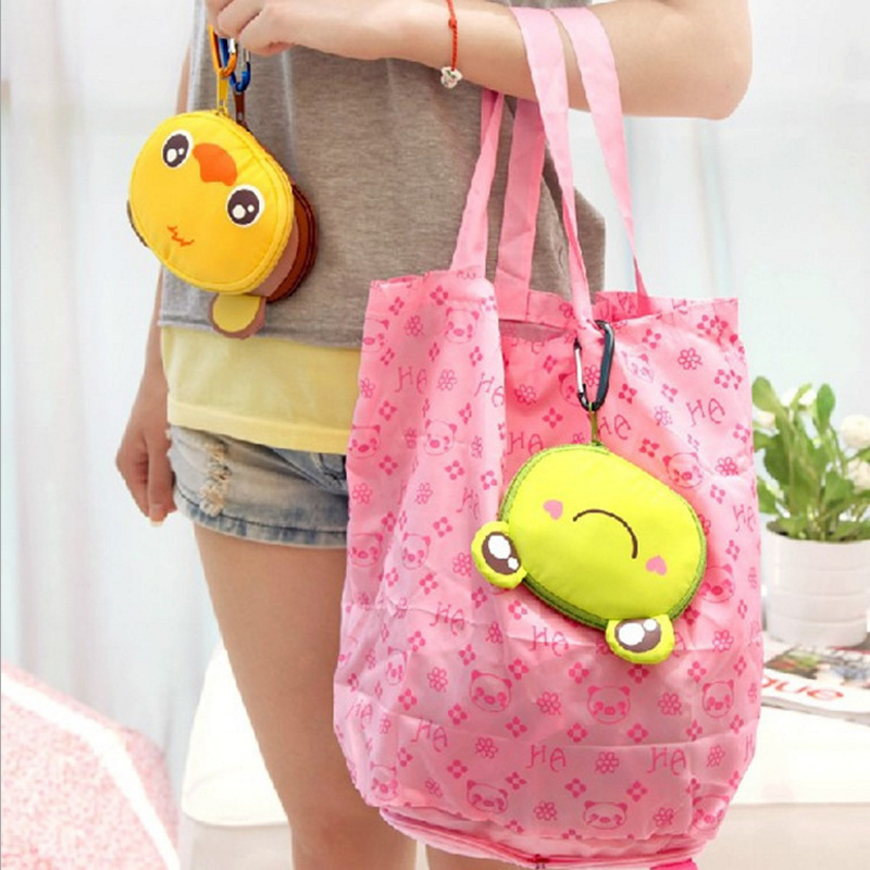Big head cartoon animal <font><b>Folding</b></font> <font><b>bag</b></font> <font><b>Japanese</b></font>-style <font><b>Shopping</b></font> <font><b>Bag</b></font> Stylish and portable <font><b>folding</b></font> nylon <font><b>bag</b></font> with aluminum buckle image