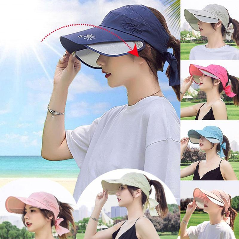 Summer Sun Hat Visor Caps Female Scalable Brim Empty Top Baseball Cap Retractable UV Protection Beach Sun Visor Hats For Women