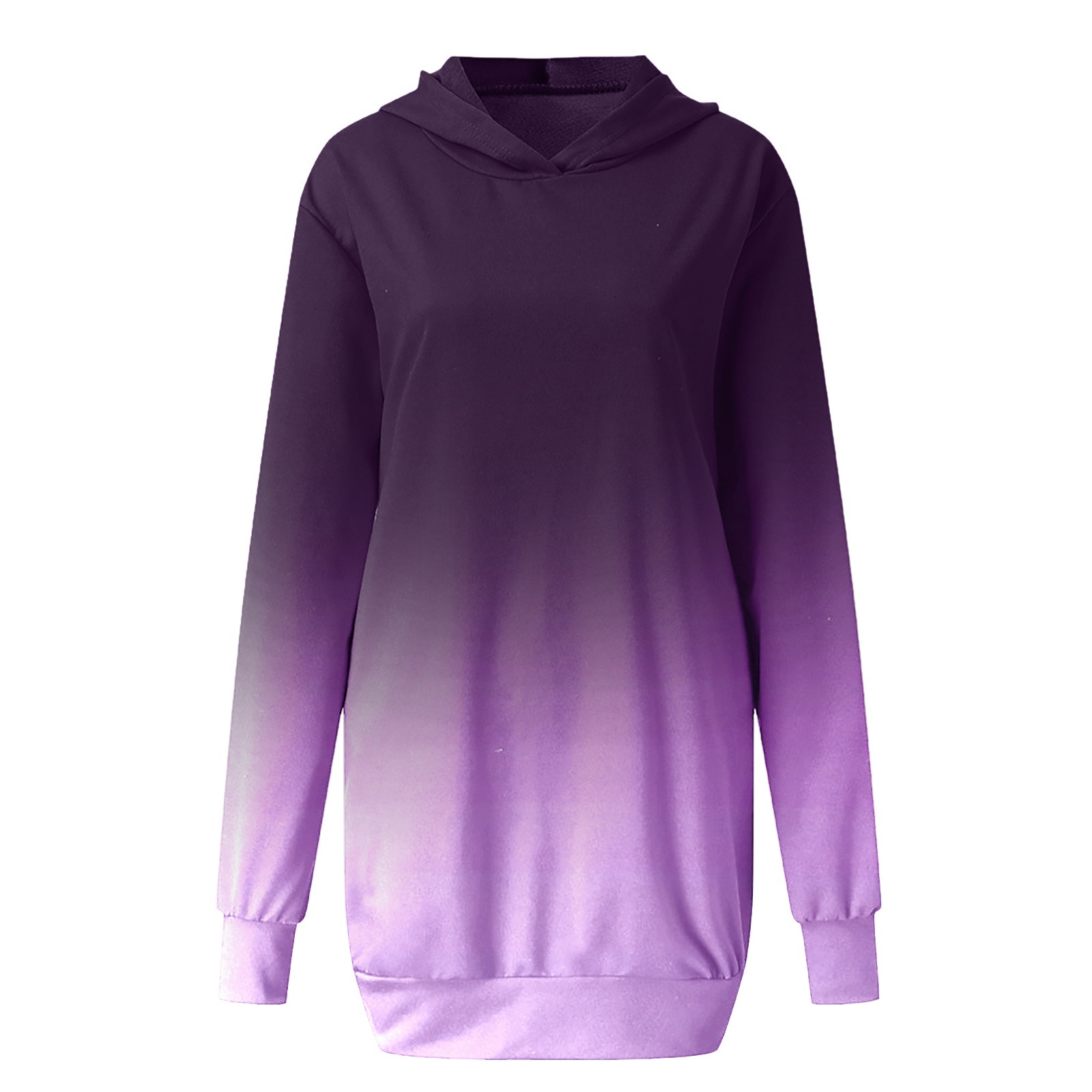 Women Casual Dress Tie dye Printed Long Sleeve Hooded Tunic Pockets Pullover Dress Winter High Quality