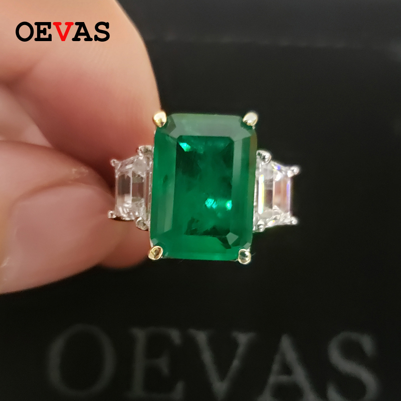 OEVAS 100% 925 Sterling Silver Created Moissanite Emerald Gemstone Birthstone Wedding Engagement Ring Fine Jewelry Wholesale