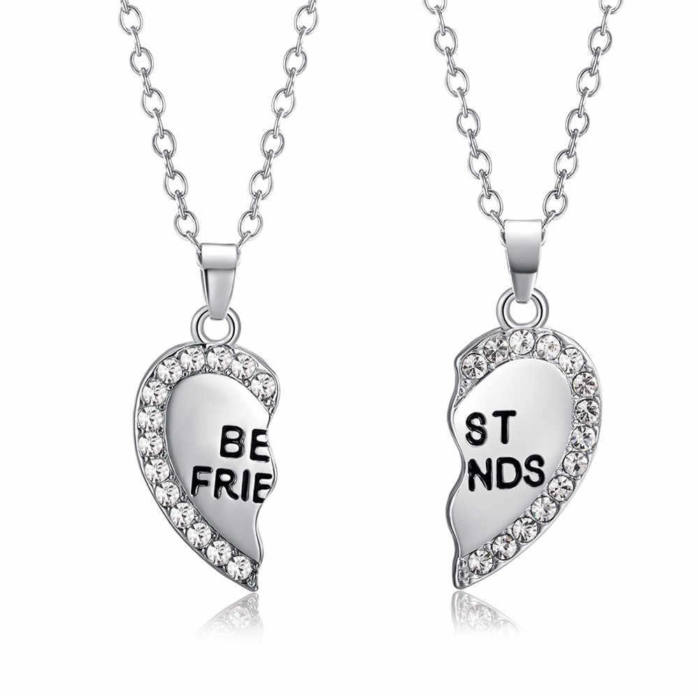 2 قطعة/مجموعة أفضل أصدقاء قلادة الذهب الشظية الساحرة لصق كسر القلب قلادة بحرف للمجوهرات الصداقة بالجملة