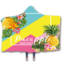 Pineapple Fruit Print Hooded Blanket Fleece Blankets And Throws Blankets For Beds Double Layered Velvet Wearable Soft Blanket(China)