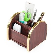 Desk Storage Box Wood Pen Holder Multi-function Office Supplies Stationery holders New Rotate Glosen C2033