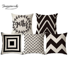 Fuwatacchi Letter Pillow Cover Black Wave Geometric Cushion  for Home Sofa Decorative Throw Case Linen