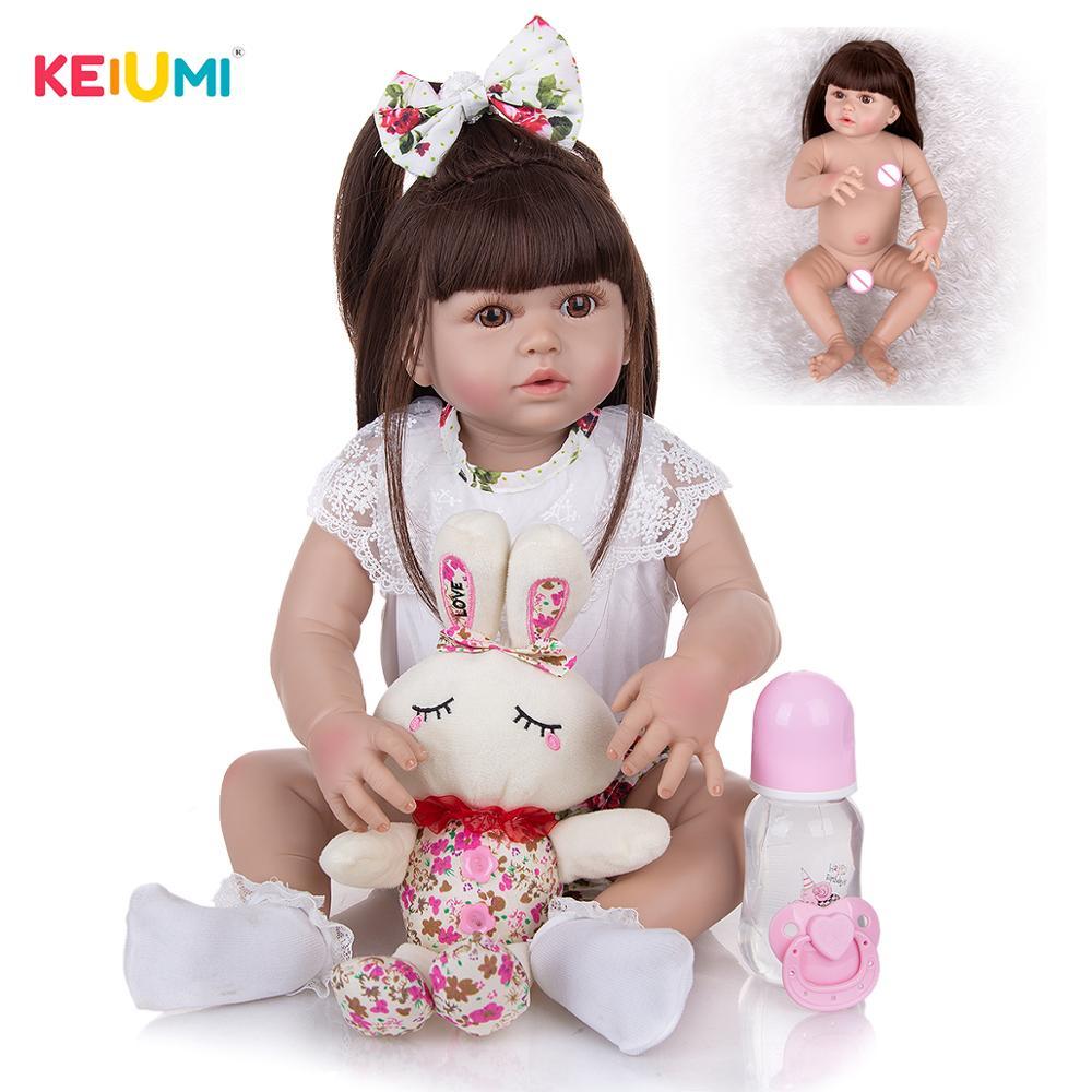 KEIUMI 23 Zoll Reborn Baby Puppen Können Anpassen Haar Farbe Neugeborenen Baby Puppen Spielzeug DIY Playmate Für Kinder Geburtstag WEIHNACHTEN geschenke