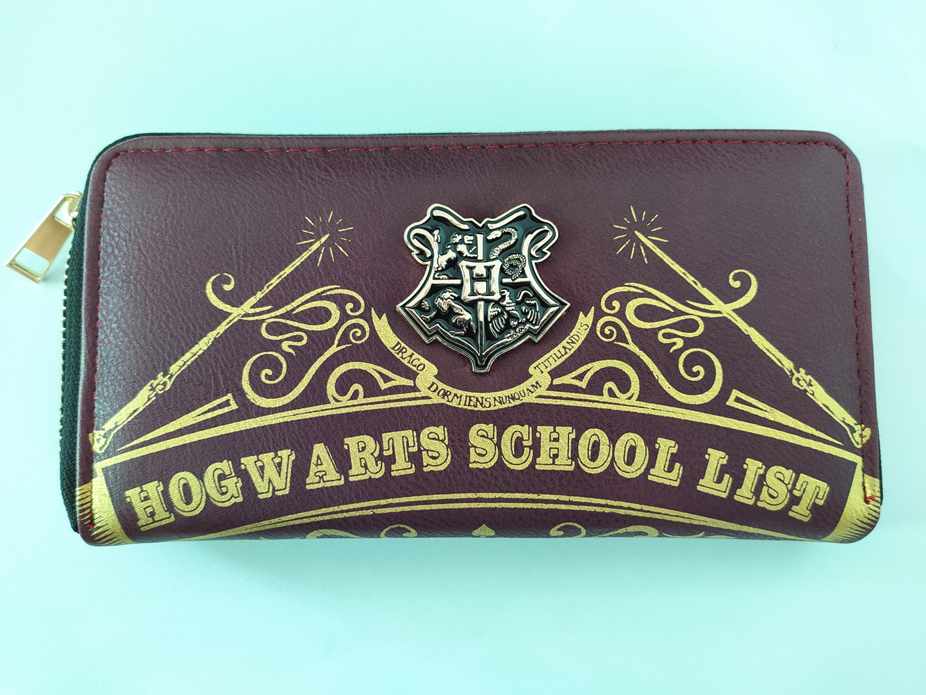 H. Potter Hogwarts School Clutch Wallets Envelope Wallet Long Faux Leather/PU Zipper Purse