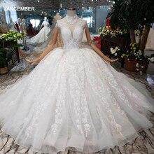 HTL178 2020 luksusowa suknia balowa suknie ślubne z krótkim rękawem aplikacje z wysokim dekoltem zasznurować suknia ślubna księżniczki z długim pociągiem