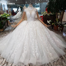 HTL178  2020 luxury ball gown wedding dresses short sleeves high neck appliques lace up princess wedding gowns with long train
