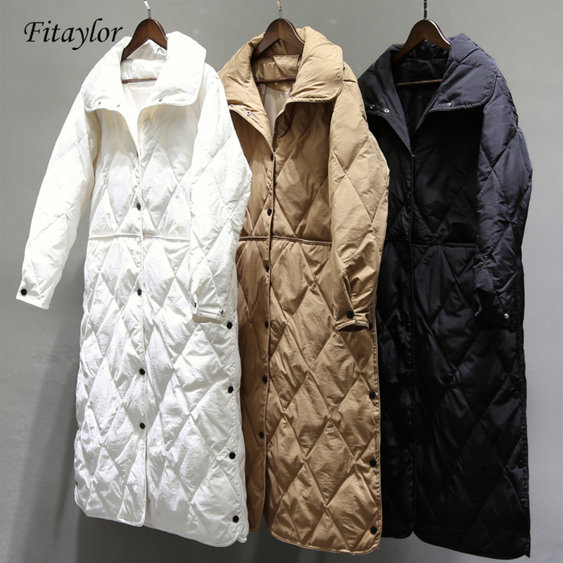 Fitaylor Autumn Winter Women Long Coat White Duck Down Jacket Female Ultra Light Down Coat Parka Outerwear Tops