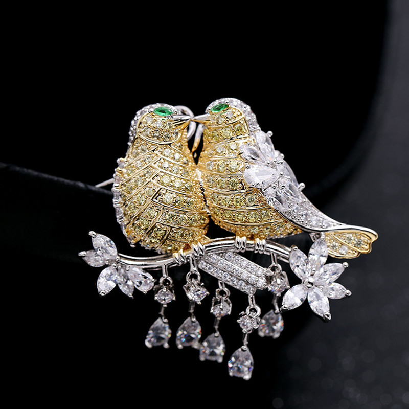 New product trend fashion personality light luxury S925 silver zircon love bird brooch couple high quality exquisite gift