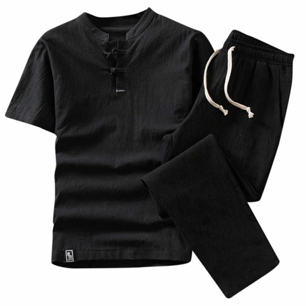 Jaycosin Mannen Suits Zomer Mode Mannen Shorts Set Pak Trainingspak Man Katoen En Linnen Suits Korte Mouw Mannelijke Dagelijkse Effen sets