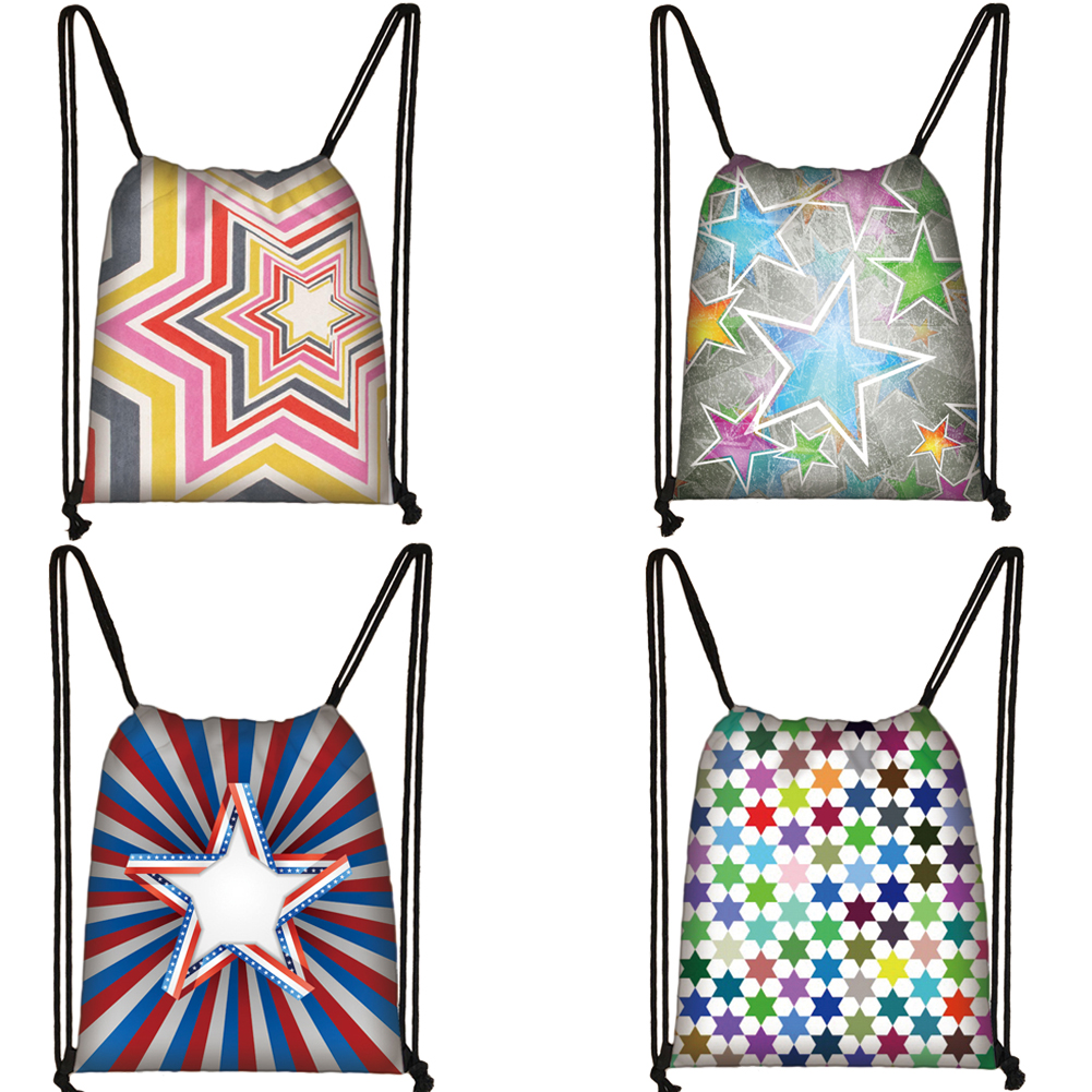 Stars Print Drawstring Bag Kids Women Travel Bag Teens Girl Drawstring Backpack Storage Bags Ladies Shopping Bags