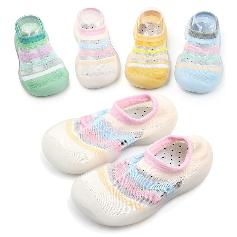 Mesh Cotton Newborn Crib Shoes Anti-slip Colorful Stripes Baby Socks Toddler First Walker Casual Shoes Indoor Floor Shoes
