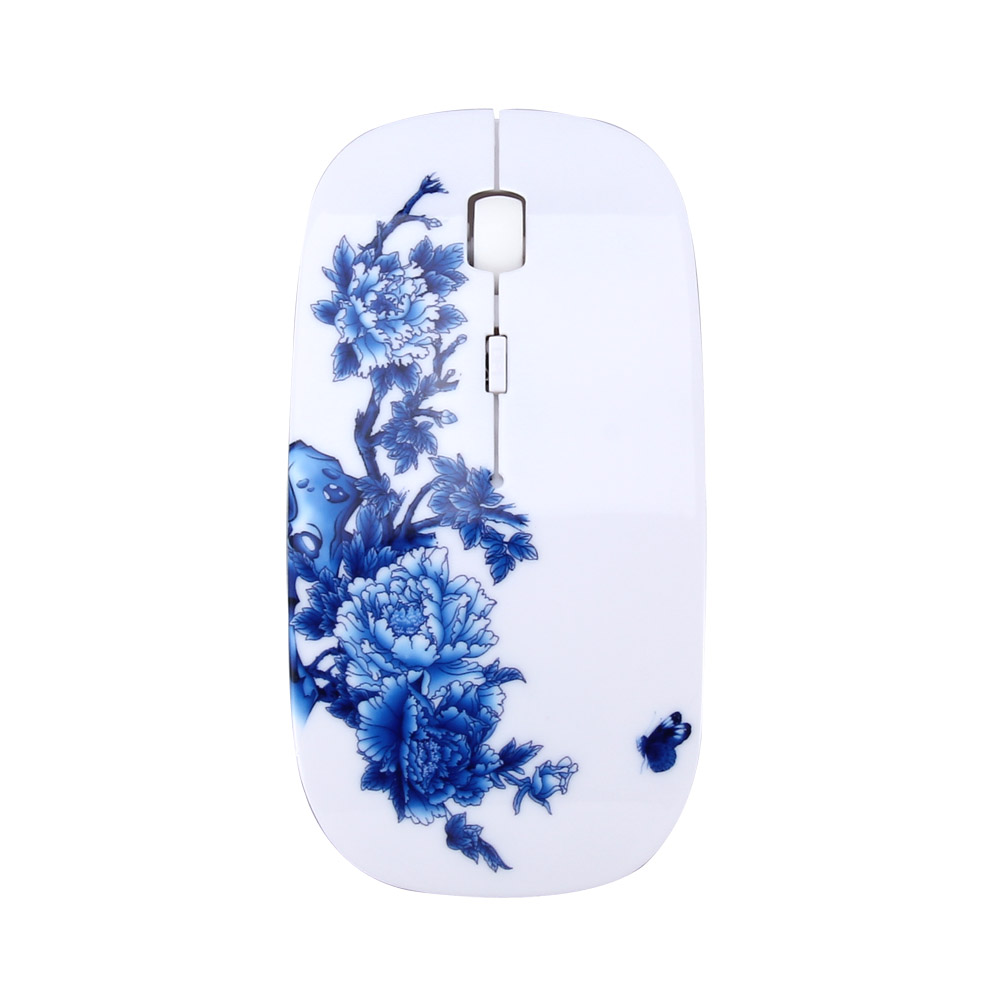 USB Elegant Flower Painted Optical Gamer Mice Portable 2.4Ghz Wireless Mouse For PC Laptop Computer Gaming Mouse Wireless Mouse