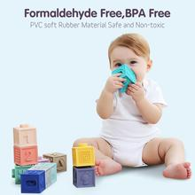 Squeeze Toys 6 pcs/12 pcs Baby Grasp Building Blocks Touch Hand Soft Massage Rubber Teethers Toy Bath