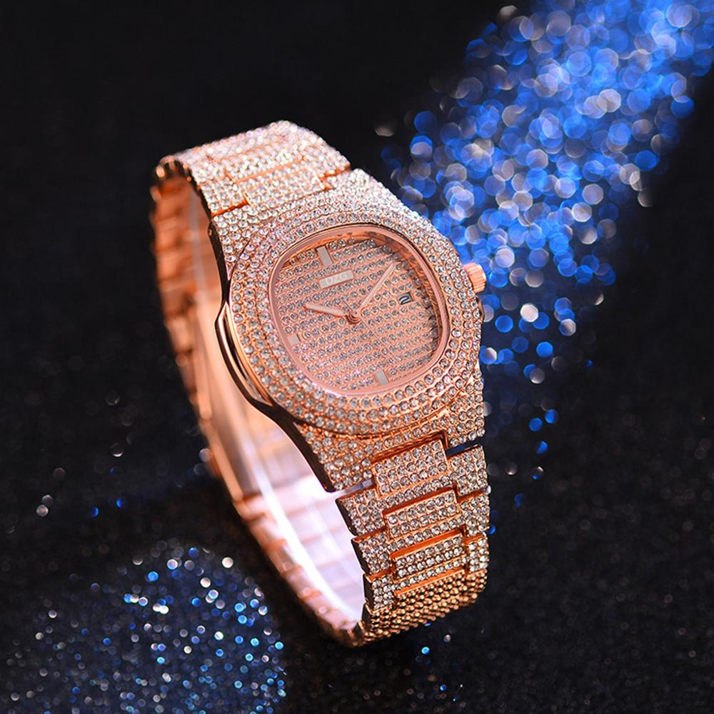 Hot Luxu Fashion Diamond Women Watch Steel Luxury Ladies Crystal Rhine-stone Quartz Watches Casual Dress Wristwatch Gift 2019 #D