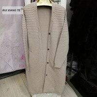 Women real fur coat genuine wool knitting warm winter coat coat winter long outerwear RuiXiangTe