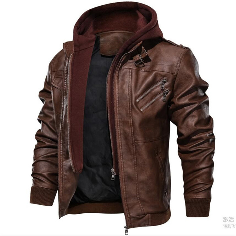 Mens Leather Jacket Men Motorcycle Removable Hood Winter Coat Men Fashion Warm Leather Jackets Mens Leather Jacket