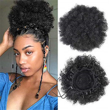 Short Puff Afro Puff Synthetic Hair Bun Chignon hairpiece hair afro For Women Drawstring afro Ponytail Clip Hair Extensions