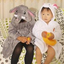 Детский халат с милыми животными; фланелевый банный халат для мальчиков и девочек; одежда для сна с длинными рукавами и капюшоном; детский банный халат; детская одежда